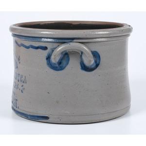 A Scarce Two Gallon Pennsylvania Grocer and Tea Dealer's Stoneware Crock