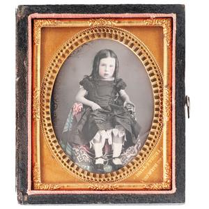 J.P. Ball Daguerreotype of a Little Girl with Hand Tinting, Cincinnati, circa 1850