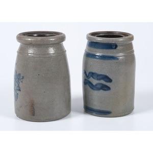 Two Diminutive Pennsylvania Cobalt-Decorated Stoneware Canning Jars