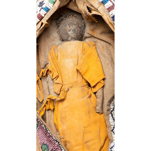 Kiowa Beaded Hide Toy Cradleboard, with Doll, From an Estate in Sinking Springs, Ohio