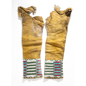 Cheyenne Woman's Beaded Hide Leggings, From an Estate in Sinking Springs, Ohio