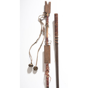 """Plains Quilled Pipe Tamper and """"Begging Stick"""", From an Estate in Sinking Springs, Ohio"""