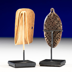 Punuk Culture Fossilized Walrus Ivory and Bone Bow Guards