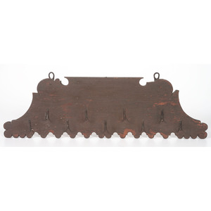 A Pine and Wrought Iron Hanging Meat Rack in Old Paint