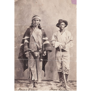 Navajo Warrior & Negro Cavalry, Arizona, circa 1887