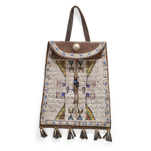 Plains Beaded Dispatch Bag, with American Flags, From the Collection of Nick and Donna Norman, Colorado