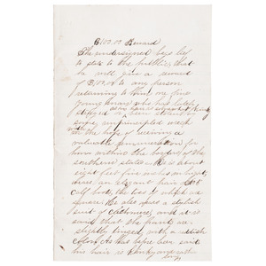 Letter Offering $100.00 Reward for Return of Missing Slave