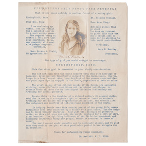 Fundraising Letter for Florida Normal & Industrial Institute with Mounted Photograph of a Young African American Woman, circa 1918