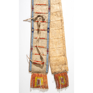 Sioux Beaded and Quilled Hide Strap, From the Stanley B. Slocum Collection, Minnesota