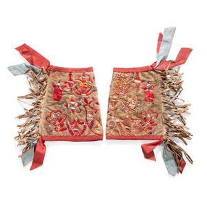 Sioux Man's Quilled Hide Cuffs, From the Stanley B. Slocum Collection, Minnesota
