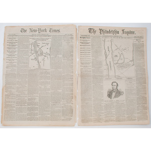 Civil War, Two Pair of Similarly Dated Newspapers, February 8 & 10, 1862 and January 5, 1863