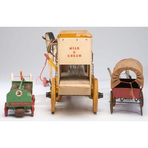 Three Wooden Wagon Pull Toys
