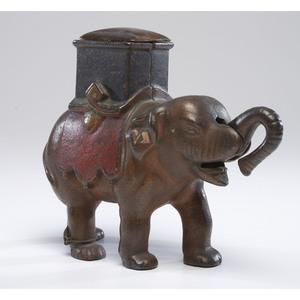 An Elephant with Howdah Cast Iron Mechanical Bank