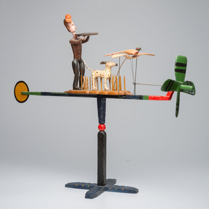 """A Painted Wood """"Duck Hunter"""" Whirligig by Ed Larson"""