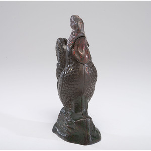 A Cast Iron Mechanical Rooster Bank