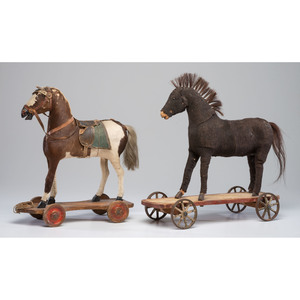 Two Hide-Covered Horse Pull Toys