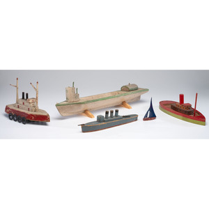 Five Painted Wood Boat Toys