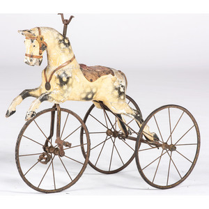 A Large Carved and Painted Wood Horse Velocipide
