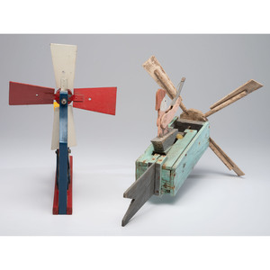 Two Painted Wood Figural Whirligigs