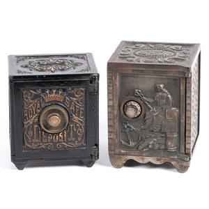 Two Cast Iron Miniature Safe Banks