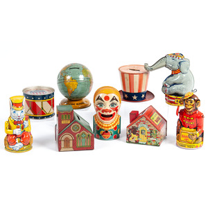 A Group of Tin Lithograph Novelty Banks