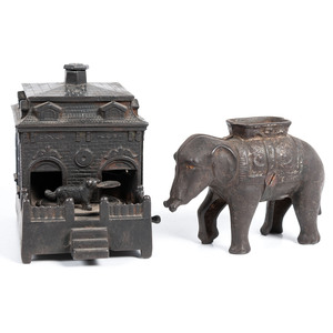 Two Cast Iron Novelty Banks