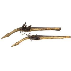 Pair of Albanian Rat Tail Flintlock Pistols