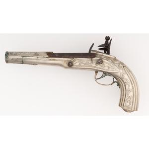 Silvered Mediterranean Flintlock Pistol