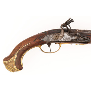 Signed German Flintlock Pistol Lock Marked J..S. Meckel A Suerin