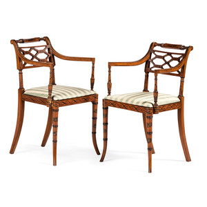 A Pair of Biedermeier Style Stencil Decorated Fancy Chairs