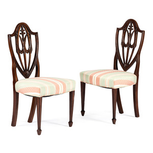 A Pair of New York Hepplewhite Mahogany Side Chairs