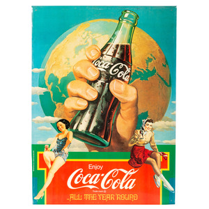 A Coca Cola Tin Advertisement Sign
