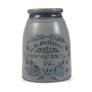 A Two Quart Cobalt Stenciled Pennsylvania Stoneware Canning Jar