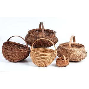 Five Woven American Baskets