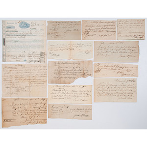 Group of Miscellaneous 19th Century Receipts, Promissory Notes, Exchanges