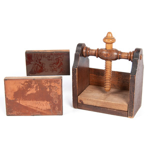 Wooden Screw Press with Copper Printing Blocks, Lot of 3
