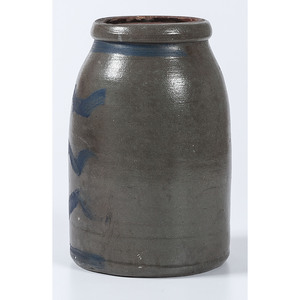 A One Gallon Pennsylvania Cobalt Striped Stoneware Canning Jar