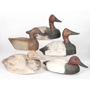 Five Canvasback Duck Decoys