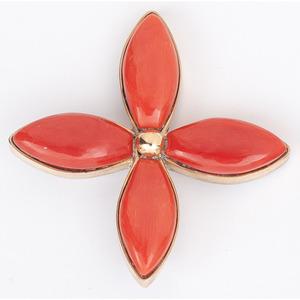 (Cincinnati) Christine Alice Eustace (Zuni-Cochiti, b. 1954) 18k Gold, Sterling Silver and Coral Floral Pendant