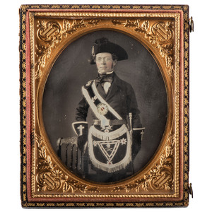 Remarkable Quarter Plate Daguerreotype of a Templar Knight in Full Regalia