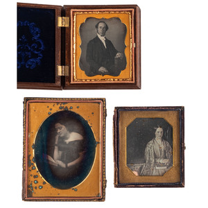 Three Daguerreotypes of Learned Laypeople, Featuring a Romantic Quarter Plate Image by Fitzgibbon of St. Louis