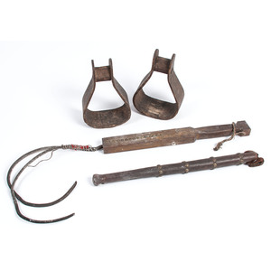 Tacked Wood Quirts and Bentwood Stirrups, From an Estate in Sinking Springs, Ohio