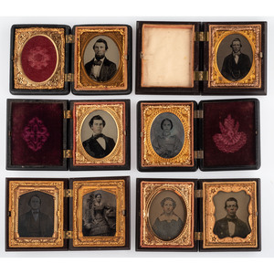 Twelve Geometric Ninth Plate Union Cases Containing Portraits of Men and Women of Various Ages