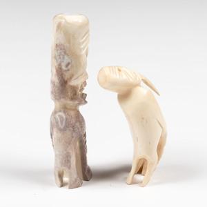 Greenlandic Inuit Carved Walrus Ivory and Bone Tupilaks