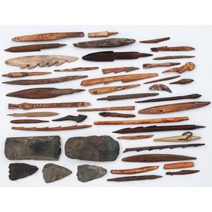 Aleutian Island Fossilized Bone Harpoon Points, Darts, AND Stone Adz
