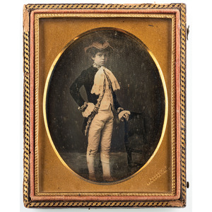 Quarter Plate Daguerreotype of a Boy in Colonial Garb by C.R. Rees