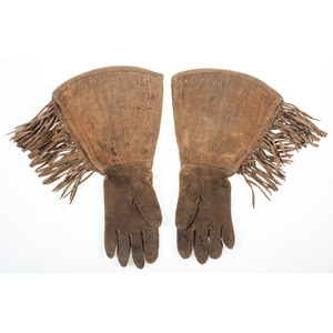 Plateau Beaded Hide Gauntlets, with Bucking Bronco