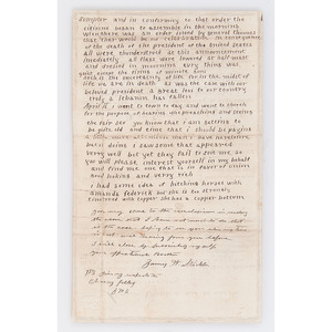 Sergeant James Stickler, 103 IL Infantry, Illustrated War-Date Letter Honoring Abraham Lincoln, Plus Locket Containing Miniature Albumen Portraits of Union Personalities