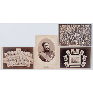 Bradley & Rulofson, San Francisco, Four Cabinet Cards with Interesting Content Incl. Hawaiian King Kalakaua