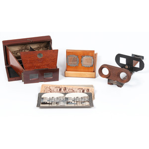 Three Wooden Folding Stereoscopes, Plus